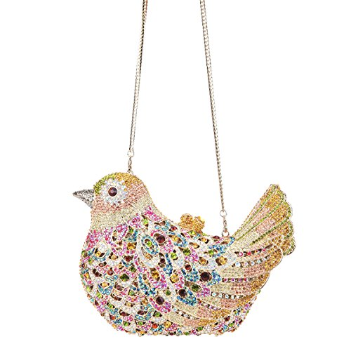 Girls Bird Purses Bag For Evening Yellow Clutch Glitter Bonjanvye Rhinestone Blue qwnRRC