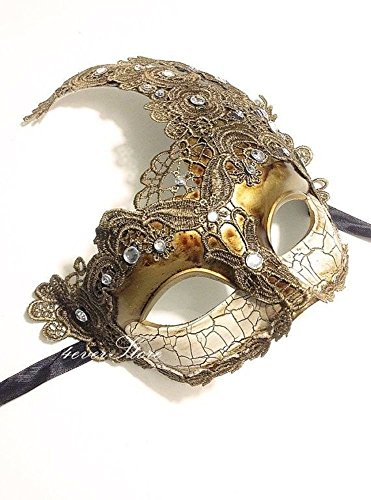Venetian Goddess Masquerade Mask Made of Resin, Paper Mache Technique with High Fashion Macrame Lace & Rhinestones