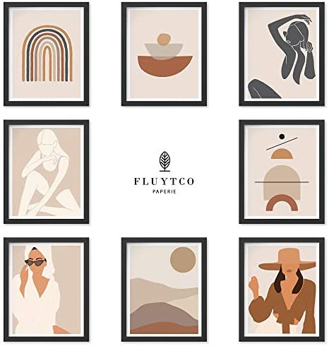 Boho Color Art Prints - Set of 8 Abstract & Figurative Pictures - Minimalist & Modern Wall Decor for Home or Office - Woman`s Body Shape Collage