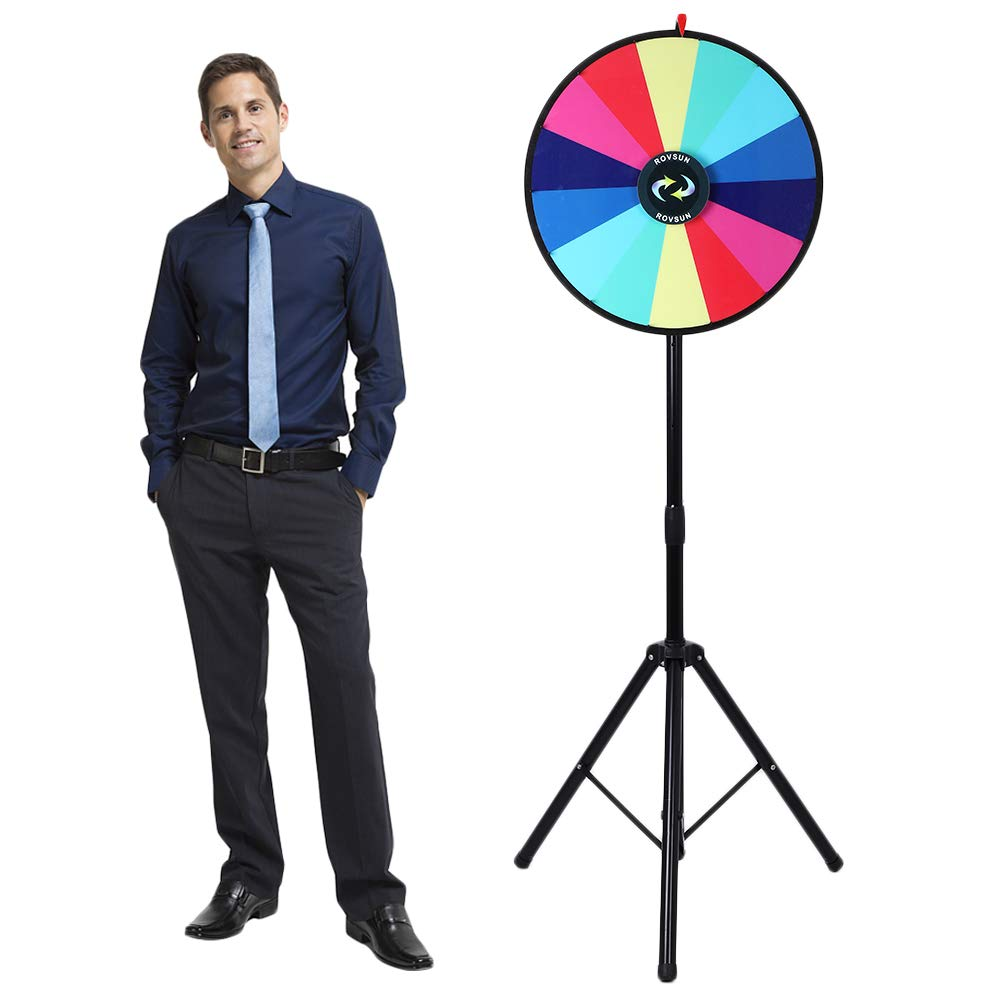 for Trade Show Carnival Casino Party Market Classroom Raffle ROVSUN 24 Spinning Prize Wheel w//Iron Folding Tripod Floor Stand,14 Color Slots Large Spinner Dry Erase Mark Pen Win Fortune Spin Game