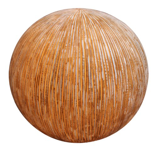 Screen Gems 17 by 14-Inch Sandstone Ribbed Finish Ball with Light for Outdoor Use