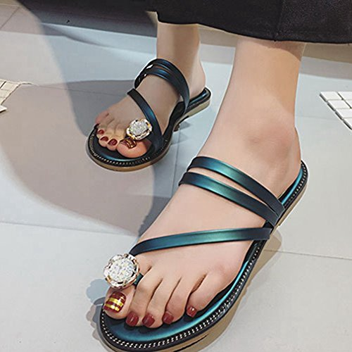 CYBLING Fashion Summer Bohemian Flat Slippers Sandals for Women Beach Strap Shoes Green PISGL