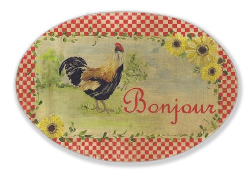 Stupell Home Bonjour and Rooster Oval Kitchen Wall Plaque