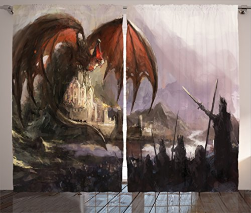 Ambesonne Dragon Decor Collection, Medieval Fantasy Theme Dragon and Dark Knights in Battle Scene with Fortress Castle, Living Room Bedroom Curtain 2 Panels Set, 108 X 90 Inches, Grey Rustic Red ()