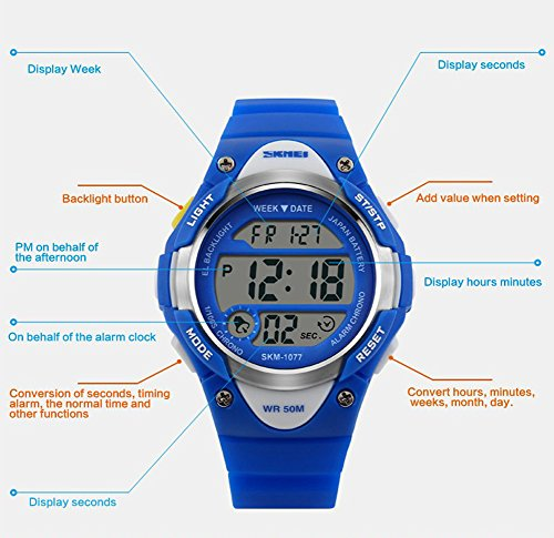 Boys Girls Multifunction Fashion Digital LED Sports Wrist Watch 50M Water Resistant Silicone Student Kids by OWIKAR (Image #1)