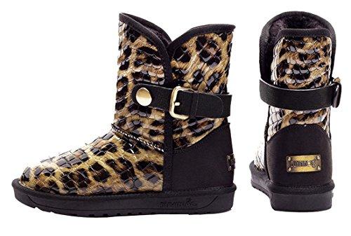 HooH Damen Leder Leopardenmuster Warm Schneestiefel 5631 Gelb