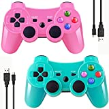 playstation 3 games for girls - Double Vibrating Wireless Controller for PS3 With Charge Cable (Green+Pink)
