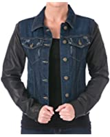 Laundry by Shelli Segal Womens Leather Long Sleeves Denim Jacket