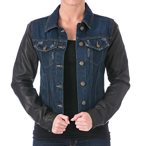 Denim Leather Coat (Laundry by Shelli Segal Womens Faux Leather Sleeves Denim Jacket Blue M)