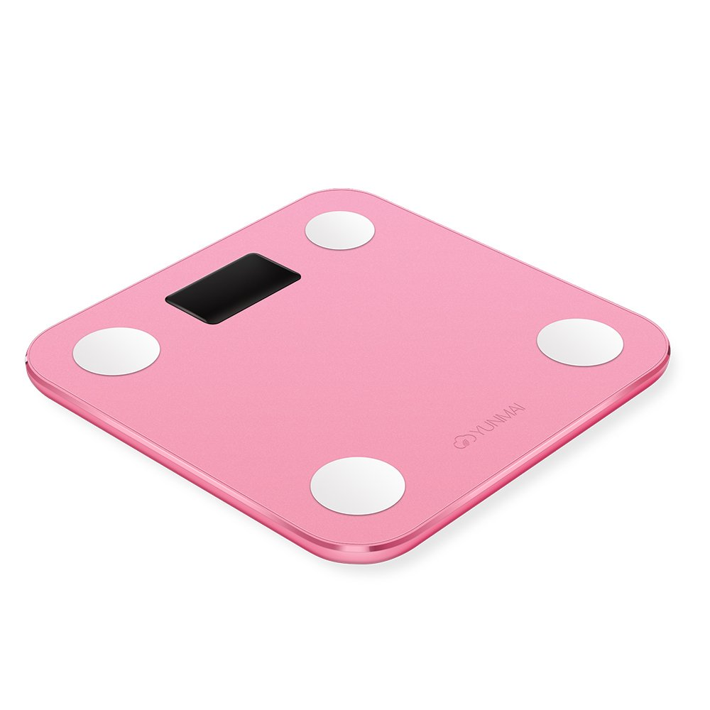 YUNMAI Mini Smart Body Analyser Pink Bluetooth Bathroom Scale with 10 Body Composition analysis Inc. Body fat