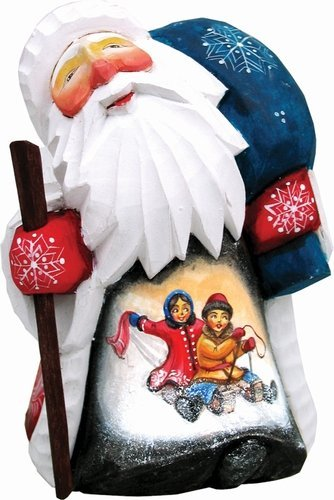 G. Debrekht A Child's Day in The Snow Hand-Painted Wood Carving
