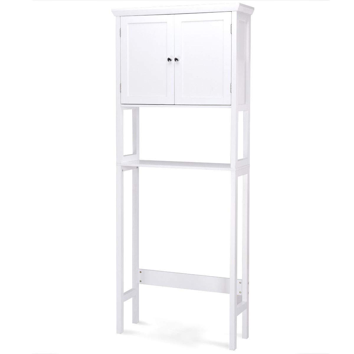 Giantex Over-The-Toilet Bathroom Storage Space Saver with Shelf Collect Cabinet, White (2 Door w/Open Rack)