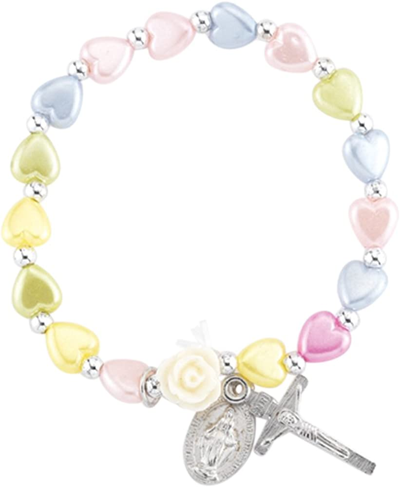 Religious Jewelry Multi-Color Glass Heart Bead Bracelet with Silver Tone Crucifix and Miraculous Medal 5 1//2 Inch