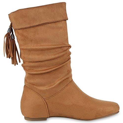 Japado - Botas plisadas Mujer marrón claro