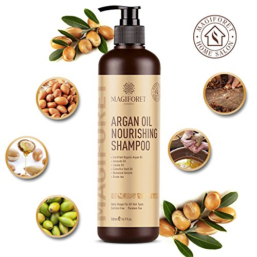 Organic Moroccan Argan-Oil Shampoo - MagiForet Moisturizing, Volumizing Sulfate Free Shampoo for Women, Men and Teens - Used for Dry Damaged Colored and all Hair Types, Anti-Aging Hair Care, 16.9 oz