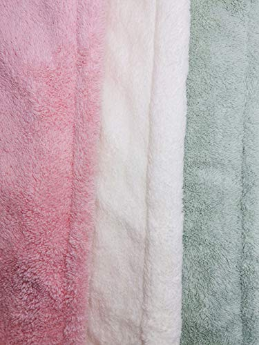 Hair Towel Wrap Turban 3 Pack Super Absorbent Microfiber Quick Dry Hair Towel with Button, Dry Hair Hat, Wrapped Bath Cap 27inch/12inch Green/Pink/White