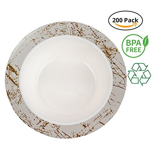 (Party Joy 'I Can't Believe It's Plastic' 200-Piece Plastic Bowl Set | Marble Collection | Heavy Duty Premium Plastic Plates for Wedding, Parties, Camping & More (Silver))