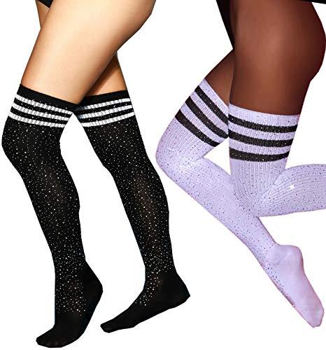 MISSGGBOND Womens Fashion Rhinestone Over the Knee High Stockings Sexy Triple Stripes Thigh High Socks (One Size, Black/White Stripe+White/Black Stripe,2 Packs)