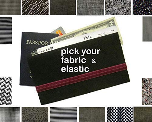 Passport Wallet and Boarding Pass Case in Your Choice of Black Fabric