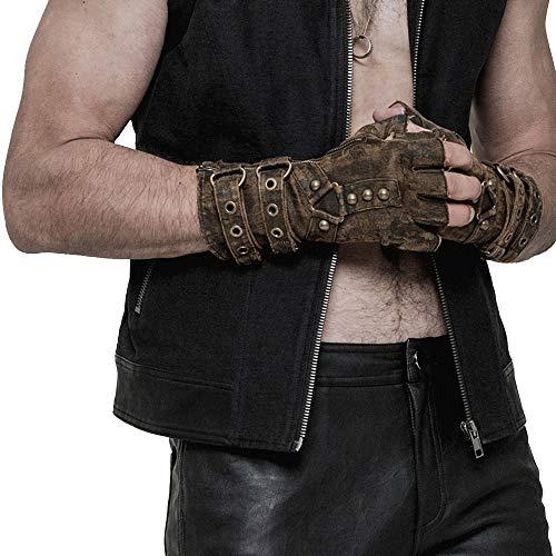 Rave Rave Steampunk Studded Fingerless Gloves for Men Vintage Motorcycle Rock Mittens ()