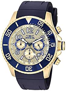 Invicta Men's Pro Diver Stainless Steel Quartz Watch with Silicone Strap, Blue, 24 (Model: 29714)