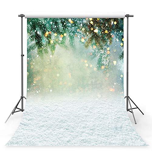 MEHOFOTO 5x7ft White Snow Photo Studio Background Winter Christmas Snowflake Landscape Green Leaves Bokeh Photography Backdrops Props -