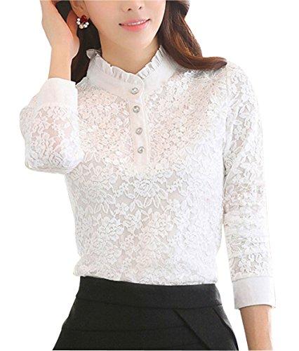 DPO Women's Slim Lace Elegant Polo Shirt Long Sleeve Vintage Blouse Tops (12, White)