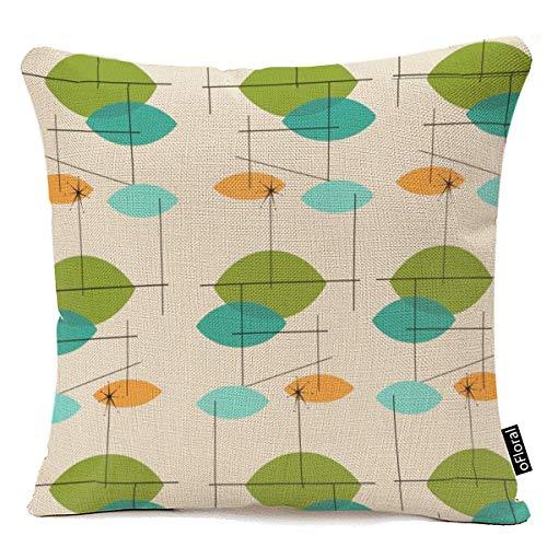 (oFloral Throw Pillow Cover Orange Mid Retro Atomic Mobile Teal Century Decorative Pillow Case Home Decor Square 18 x 18 Inch Cotton Linen Pillowcase)
