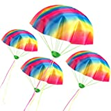 VAMEI 4 Pack Tangle Free Throwing Toy Rainbow Mini Parachute Toys For Kids Children Outdoor Game Party Favors