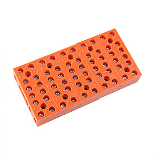 uxcell 5 Pcs 600V 36A Dual Row 6 Positions Screw Terminal Electric Barrier Strip Block