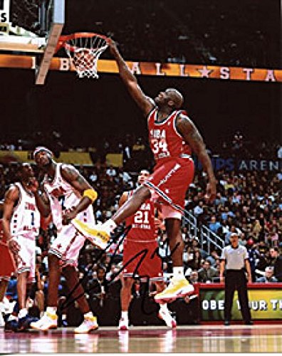 Photograph Shaquille Autographed Oneal - Shaquille O'Neal Autographed Dunk vs. East Los Angeles Lakers 2003 All Star 8x10 Photo - Autographed NBA Photos