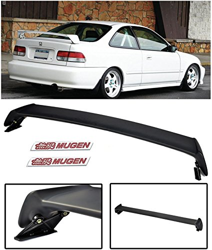 VXMOTOR Mugen Style ABS Plastic Rear Trunk Lip Wing Spoiler + Red Emblems for 1996-2000 Honda Civic 2 Door 2DR Coupe ONLY