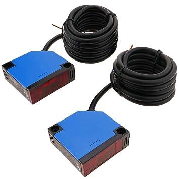 BeMatik - Sensor interruptor célula fotoeléctrica NO+NC 12-24VDC barrera: Amazon.es: Electrónica