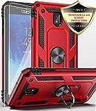 Dahkoiz Galaxy J3 Star Case with Glass Screen Protector Ring Holder Kickstand Cover Phone Case for Samsung Galaxy Express Prime 3/Amp Prime 3/J3 Orbit/J3 Achieve/Sol 3/J3 V 3rd Gen/J3V 2018,Red