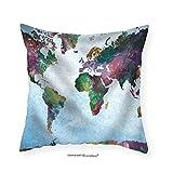 VROSELV Custom Cotton Linen Pillowcase Colorful Watercolor World Map on a Blue Vignette Background - Fabric Home Decor 12''x12''