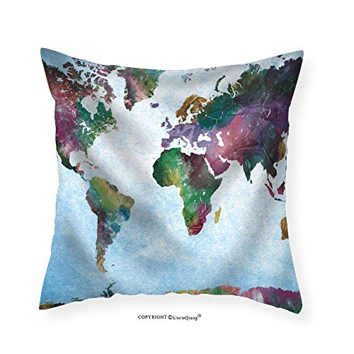 VROSELV Custom Cotton Linen Pillowcase Colorful Watercolor World Map on a Blue Vignette Background - Fabric Home Decor 12''x12'' by VROSELV