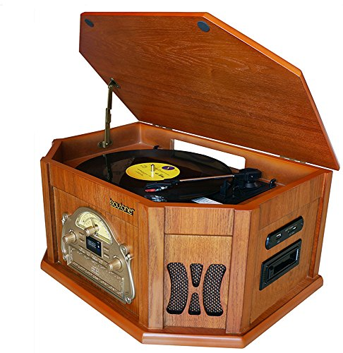 7-in-1 Boytone BT-25WB Natural Wood Classic Turntable Stereo