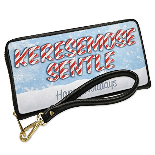 Wallet Clutch Merry Christmas in Tswana from Botswana, South Africa with Removable Wristlet Strap Neonblond by NEONBLOND
