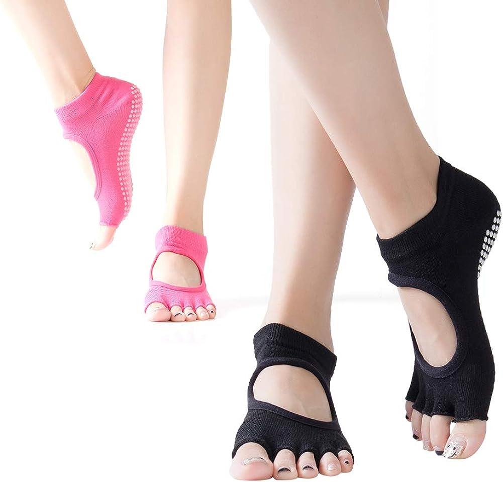 Non Skid Socks/& Five Toeless Socks for Pilates Fitness Dance. Ballet FOCUSIN Dig instep Yoga Socks 2 pairs Barre