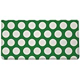 Snaptotes Green Polka Dot Design Style Checkbook Cover One Size