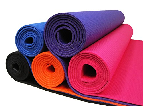 Extra Wide Durable Lightweight Microban Antimicrobial 4 MM Thick Yoga Mat By Spectrum Products (Purple)