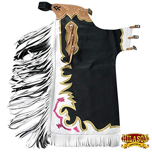 HILASON CH878T Black Bull Riding Genuine Leather Rodeo Western Chaps - Riding Western Chaps