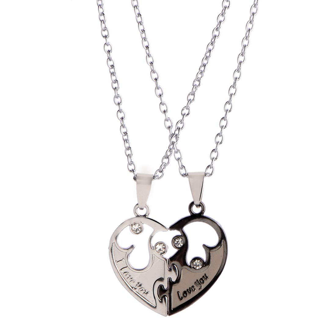 STRIPES Valentine Day Special Silver Stainless Steel 2 Broken Heart Shaped Pendant Men's and Women's Necklaces for Couples -Set of 2 (B07HC7MY9Z) Amazon Price History, Amazon Price Tracker