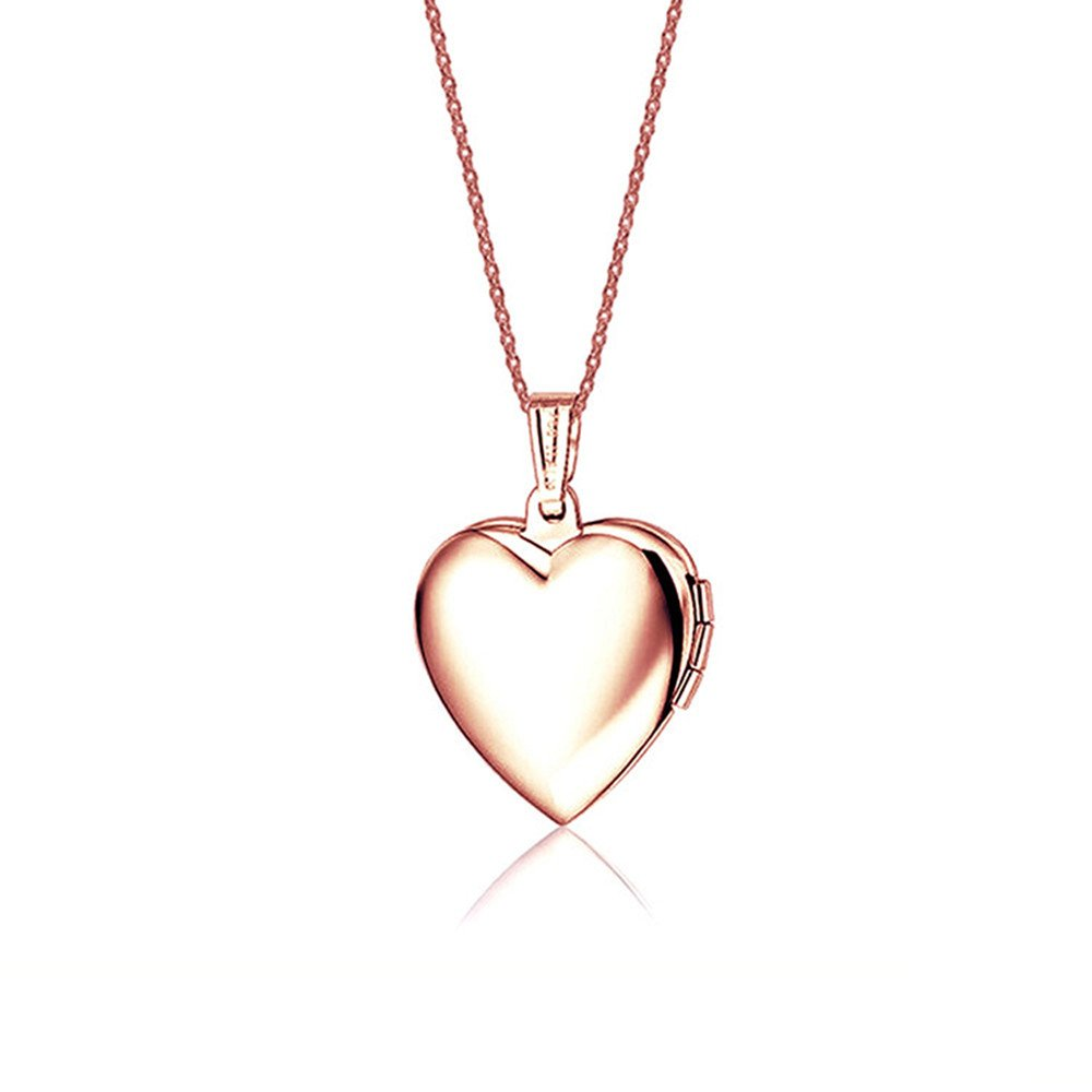 Dazzle flash Rose Gold Heart Locket Pendant Necklace NGG245 (Rose-inner pink)