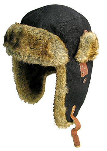 (Canvas Winter Rabbit Fur Aviator Outdoor Trapper Trooper Pilot Ski Hat | Kakadu Australia Black)