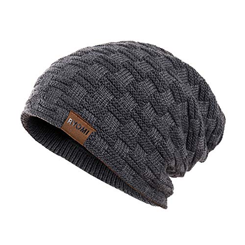 RYOMI Slouchy Beanie Hat for Women and Men, Variy Styles and Colors Fleece Lined Oversized Winter Warm Knit Cap Gray
