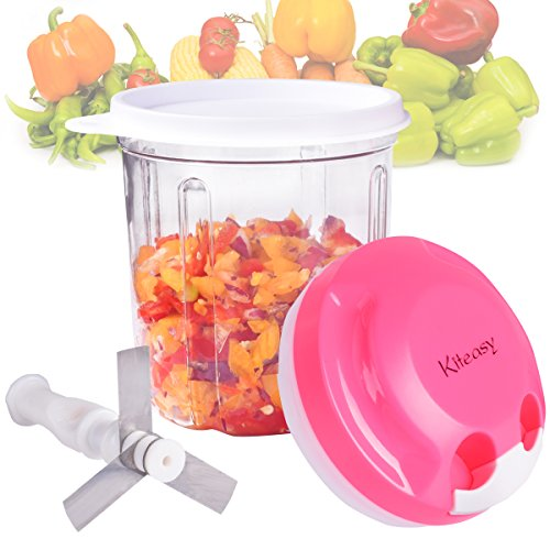 Red Onion Salad - Vegetable Chopper, Kiteasy Quick Pull Manual Food Chopper Mini Food processor for Fruits, Veggies, Salad, Onion, Red, 730ml
