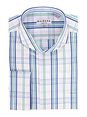 Modena White with Green & Blue Plaid Cutaway Collar French Cuff Cotton Dress Shirt