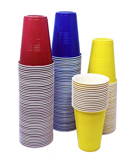 TashiBox 16 oz disposable plastic party 150 count-Assorted color red, blue, 50 yellow cups, BPA Free, Multicolor