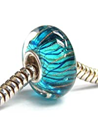 Sterling Silver Stripe Wave Blue Gold Glass Bead for European Chamilia Biagi Troll Pandora Charm Bracelets
